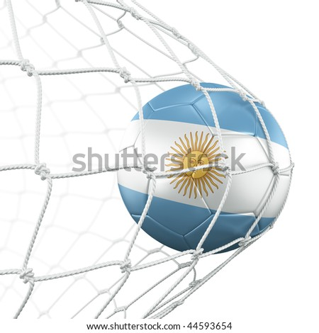 3d rendering of an Argentinian soccer ball in a net - stock photo
