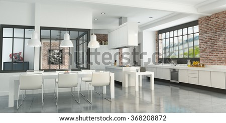 3D rendering of an artist loft with a magnificent integrated kitchen - stock photo