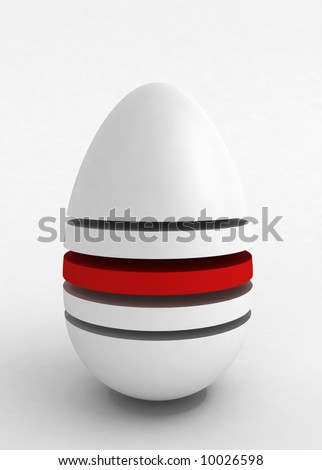 3d rendering of an egg shape cut in the middle