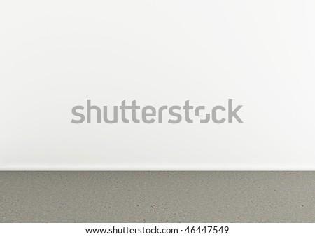 3d rendering of an empty room with concrete floor - stock photo
