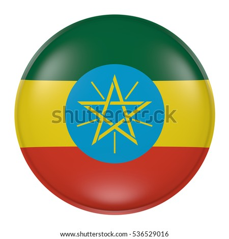 3d rendering of an Ethiopia flag on a button