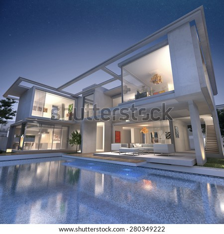 3D rendering of an impressive open villa with pool - stock photo