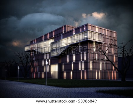 3D rendering of an office building - stock photo