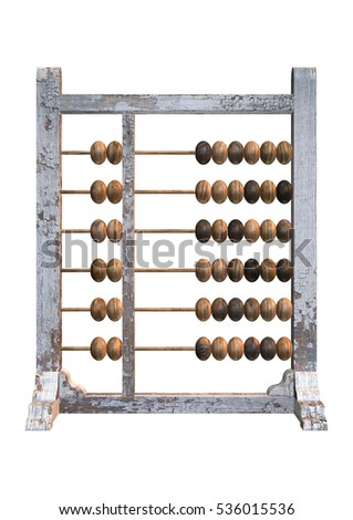 3D rendering of an old abacus isolated on white background