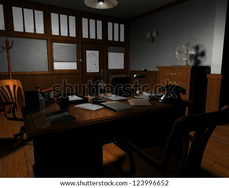 3D rendering of an old American film noir detective agency in Sil