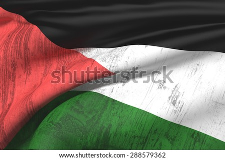 3d rendering of an old and dirty palestine flag - stock photo