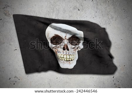 3d rendering of an old pirate flag - stock photo