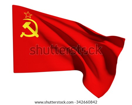 3d rendering of an old soviet flag on white background - stock photo