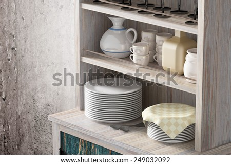 3d rendering of an old wooden cupboard - stock photo