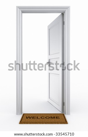 3d rendering of an open door with welcome mat - stock photo