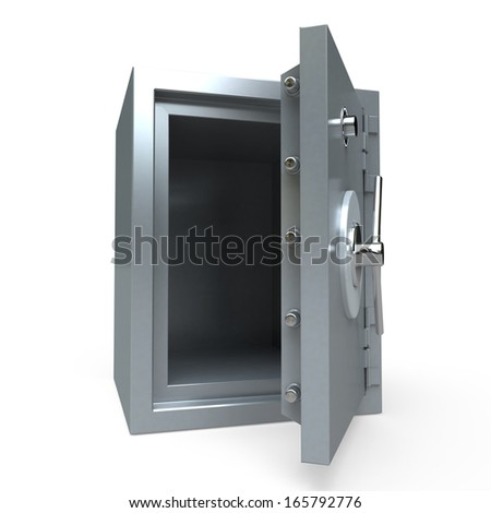 3D rendering of an open empty safe - stock photo