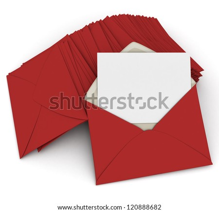 3D rendering of an open envelope and a blank, card on top of a pile of closed red letters - stock photo