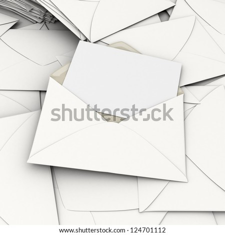 3D rendering of an open envelope and a blank, card on top of a stack of scattered correspondence - stock photo