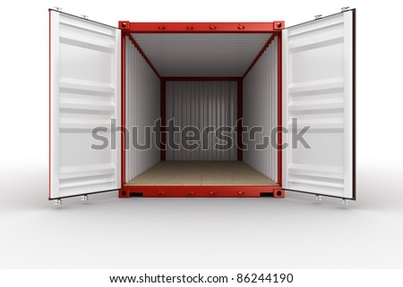3d rendering of an open shipping container - stock photo