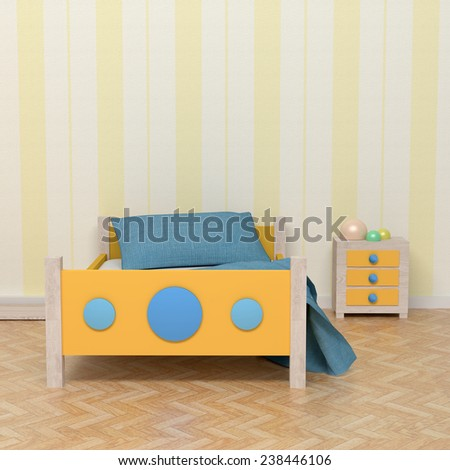 3D rendering of an orange and blue kids room - stock photo