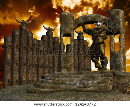 3D rendering of an orc with a stone portal - stock photo