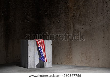 3d rendering of an USA flag and a box on an old warehouse