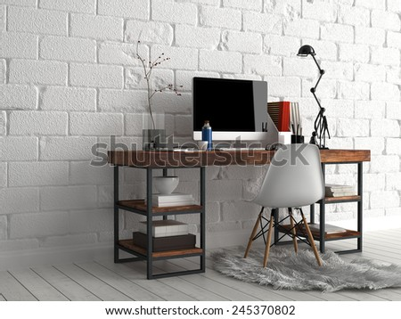 3D Rendering of Architectural Design - Elegant Worktable with Computer, Lamp, Vase and Writing Supplies, Beside White Concrete Wall - stock photo