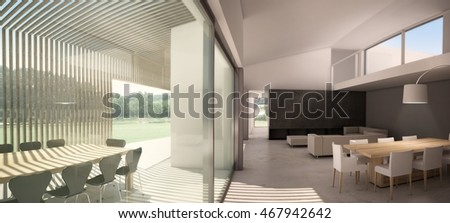 3D rendering of architectural interior design of open space loft home with chairs, sofas, table, lamp and large windows facing field of grass and sky.