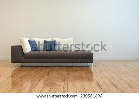 3D Rendering of Attractive Gray Sofa with White and Blue Pillows on Empty Lounge Room with Off White Wall Background and Shiny Wooden Floor Design. - stock photo