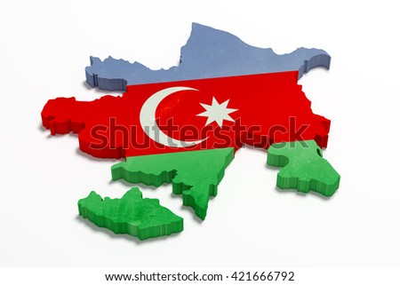 3d rendering of Azerbaijan map and flag - stock photo