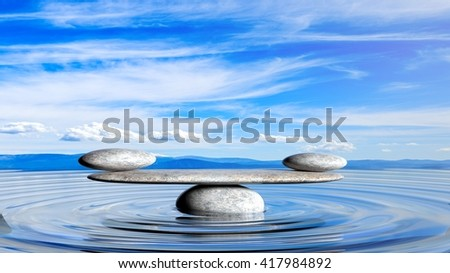 3D rendering of balancing Zen stones in water with blue sky and peaceful landscape.