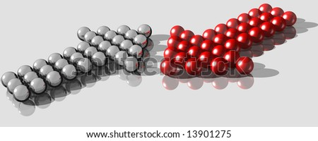 3d rendering of balls forming two arrows in different directions