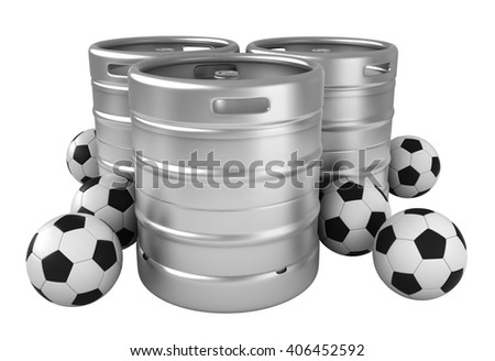 3d rendering of beer kegs and soccer balls isolated over white background - stock photo