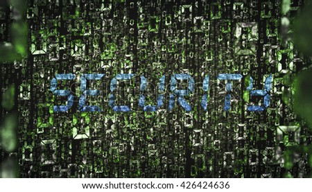 3D rendering of binary numbers with security text - stock photo