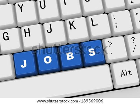 3d rendering of black computer keyboard with blue button of word jobs - stock photo