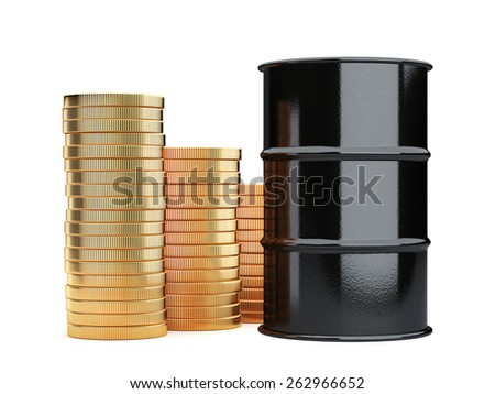 3d rendering of black oil barrels and golden coins money cash isolated on white background - stock photo