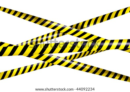 3d rendering of blank caution tape - stock photo