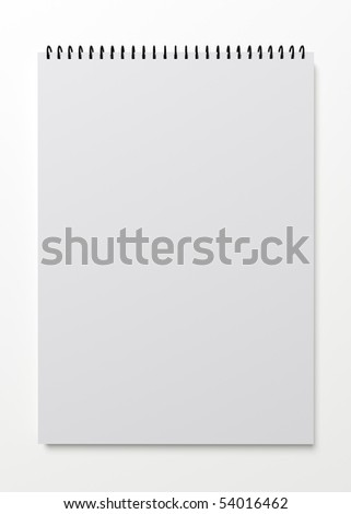 3d rendering of blank notepad on white background