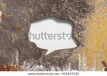 3D rendering of blank speech bubbles carved in brown rusty metal wall - stock photo