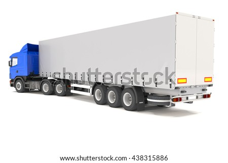 3d rendering of blue cargo truck over white background.