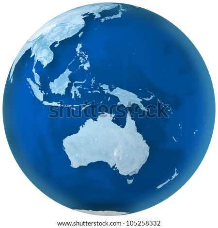 3D rendering of blue earth with detailed land illustration.  Australia view. - stock photo
