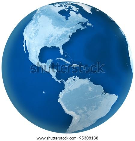 3D rendering of blue earth with detailed land illustration.  North and South America view. - stock photo