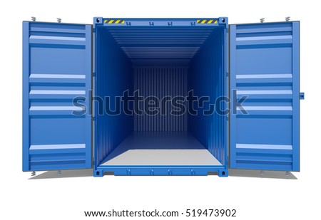3d rendering of blue open shipping container. Front view. Isolated on white