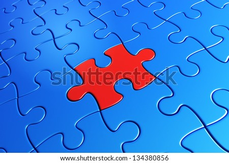 3d rendering of blue puzzle pieces with one red piece