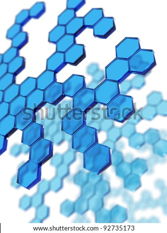 3D rendering of blue transparent hexagons - stock photo