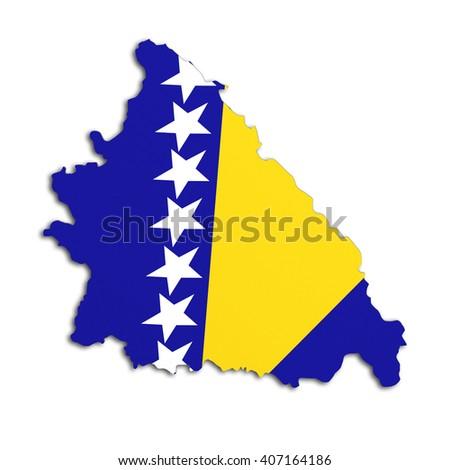 3d rendering of Bosnia Herzegovina map and flag on white background. - stock photo