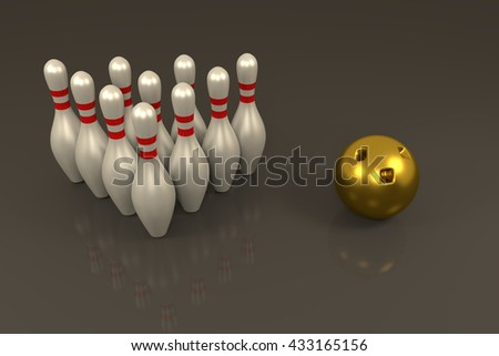3D rendering of Bowling pins and golden ball in grey background - stock photo