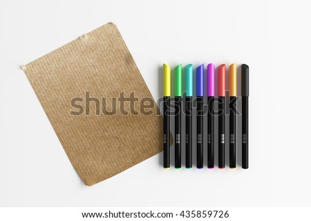 3d rendering of bright colorful pens with sheet of paper on white background - stock photo