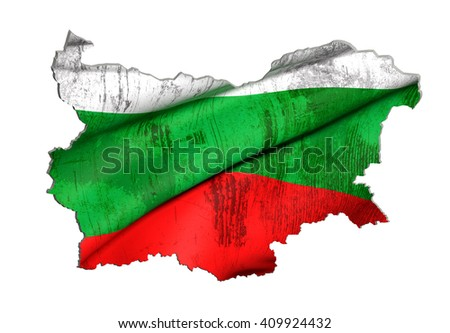3d rendering of Bulgaria map and flag on white background. - stock photo