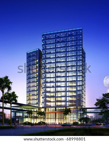 3D rendering of business building - stock photo