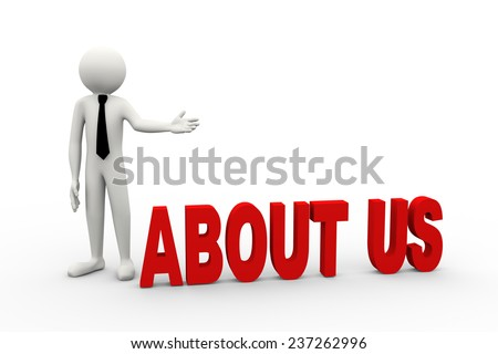 3d rendering of business person presentation of about us word. 3d white people man character - stock photo