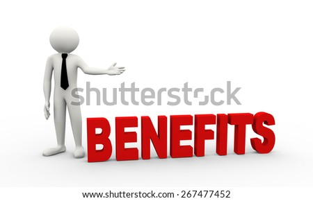 3d rendering of business person presentation of benefits word. 3d white people man character - stock photo