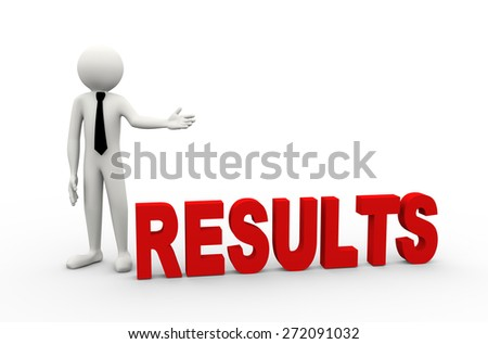 3d rendering of business person presentation of results word. 3d white people man character - stock photo