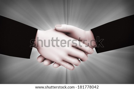 3d rendering of business person shaking hands on abstract background. 3d white people man character. - stock photo