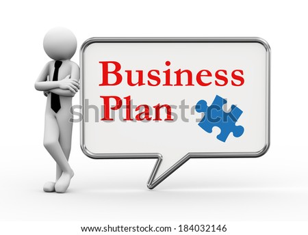3d rendering of business person standing with business plan with puzzle piece symbol bubble speech. 3d white people man character. - stock photo